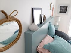 DIY: a box headboard - Here is the article promised to explain to you how I realized my headboard! I& not a pro and - Diy Headboards, Headboard Ideas, Diy Home Decor Projects, Mason Jar Diy, Diy Design, Diy Furniture, Room Decor, Voici, Diy Lit