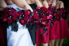 My bridal bouquets with black feathers.