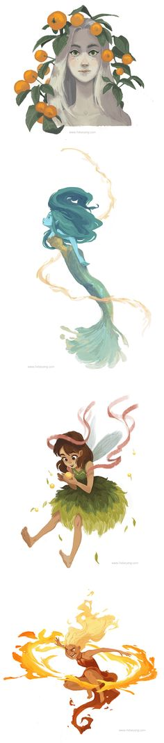 The Elementals by Kelsey Eng - Under the Orange Tree (mother nature), Mergirl (water), Earth Fae (earth), and Fire Sprite (fire) https://www.instagram.com/kelseyeng32/ Character Design, Painting, Mermaid