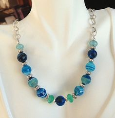Blue Agate and Sterling Silver Necklace by MAGICALUNIVERSE on Etsy