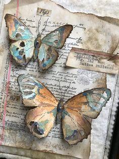 A Collection of Tattered Butterflies - Tim Holtz die Distress mediums etc. Paper Butterflies, Butterfly Cards, Paper Flowers, Butterfly Template, Flower Template, Book Crafts, Arts And Crafts, Paper Crafts, Diy Crafts