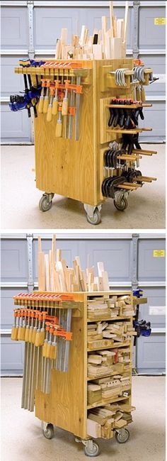 Rolling clamp and scrap wood storage Lumber Storage, Diy Garage Storage, Wood Storage, Storage Ideas, Craft Storage, Storage Cart, Workshop Storage, Workshop Organization, Garage Workshop