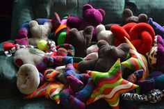 Dog Toys balls ropes bears stars and squeakers by greycare on Etsy, $20.00