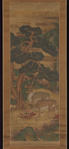 """Deer amid pine trees,19th century. Joseon dynasty (1392–1910). Korea. The Metropolitan Museum of Art, New York. Purchase, Friends of Asian Art Gifts, 2013( 2013.29a, b) 