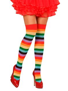 Rainbow Striped Opaque Tights 80s 90s Gay Pride Ladies Fancy Dress Accessory