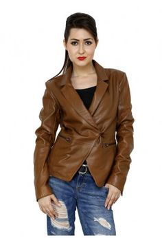 CLASSY LEATHER JACKET FOR WOMEN (BROWN)