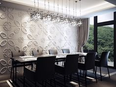19 Extremely Amazing Ideas For Decorating Luxury Dining Room - design-ideen Dining Room Wallpaper, Dining Room Wall Decor, Dining Room Design, Room Decor, Dining Area, Contemporary Dining Room Furniture, Modern Dining Room Lighting, Luxury Dining Room, Dining Rooms