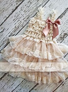 Rustic Flower Girl Dress    Lace Ruffle Dresses are perfect for any special event, whether its for photos, flower girls in rustic weddings,