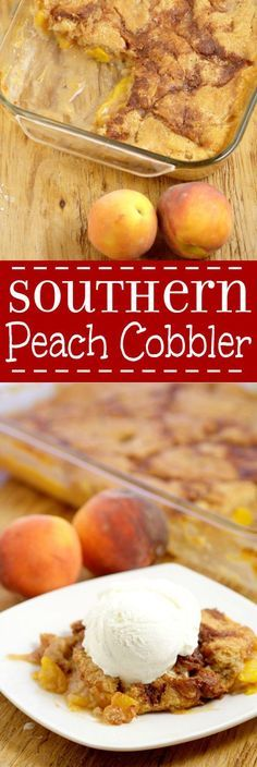 Southern Peach Cobbler Recipe: An easy, yummy dessert recipe.  Fresh or canned sweet peaches covered  covered in butter, brown sugar and spices and topped with a simple moist cobbler batter and cinnamon sugar topping. Great for parties and holidays!   This is so delicious with ice cream on top.  It adds just the right amount of creamy.