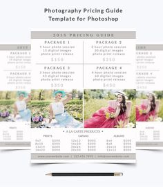 Photography Pricing Guide Template 007 for by NMDesignStudioShop