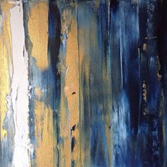 Free shipping Dark blue and gold abstract by HouseofTrousselotArt