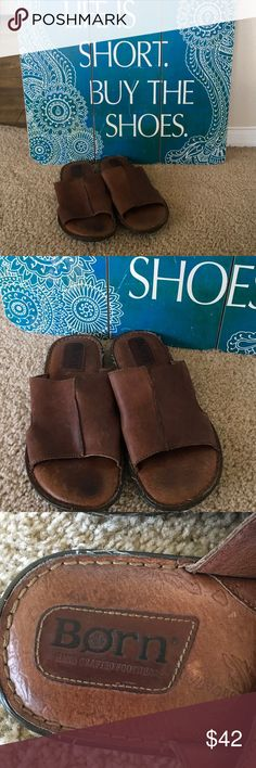 BORN Men's sandals comfy casual slip on 8M BORN pre-owned slip on men's cushioned comfortable sandals / slippers..in a lovely versatile saddle brown color. Size 8 M, They were maintained carefully,they are wearable &neat. Inner soles are cushiony BORN Shoes last decades BORN Shoes Sandals & Flip-Flops