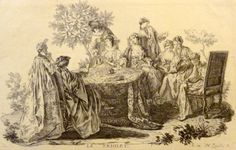 """Gravure XVIIIème de H. Zanelly intitulée """"le Triolet"""""""