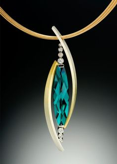 Tango pendant - This unique pendant design features sweeping curves of gradient Spectra gold, diamonds and a luscious tourmaline.