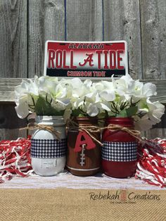 University of Alabama Mason Jars Alabama Dorm by RebekahCreations: Crimson Tide Football, Alabama Football, Alabama Crimson Tide, Alabama Crafts, Alabama Decor, Alabama Baby, Sweet Home Alabama, Bama Fever, University Of Alabama