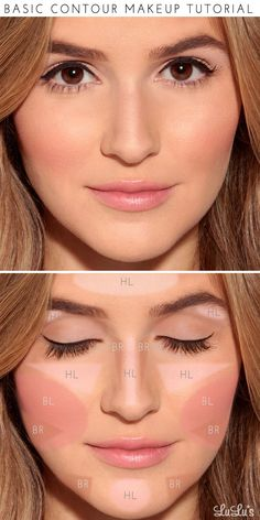 "Start by applying a light foundation in the areas labeled ""HL"" to add highlights. Fill in the areas marked ""BR"" with a darker foundation (about 2 shades darker than your skin) to act as your bronzer. Finish off by applying blush in the area of the cheekbone marked ""BL"" and—voilà!—a perfect makeup look for any special occasion!"