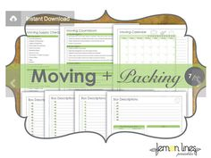 Moving & Packing Printables Pack INSTANT by LemonLinesPrintables. They also have a set of moving labels and the two together, has made our move so much easier! Moving House Tips, Moving Day, Moving Tips, Packing To Move, Packing Tips, Moving Binder, Moving Labels, Organizing For A Move, Moving Supplies
