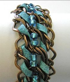 Copper and Suede Chain-link Bracelet