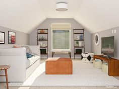 attic ideas Attic Living Rooms, Mid Century Living Room, Attic Bedrooms, Leaning Bookshelf, Slanted Walls, Square Ottoman, Home Office Space, Smart Design, Mid Century Style