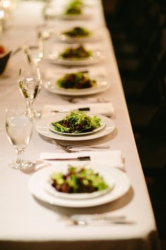 Hearty pear & walnut salads all lined up! Ravishing Radish Catering | Karen Obrist Photography