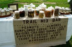 Camping party with a trail mix bar! Trail mix bar would be great for the parents at Primary I and II at Camp McDowell! Teddy Grahams, Planning Menu, Party Planning, Wedding Planning, Trail Mix Buffet, Party Ideas For Teen Girls, Baby Ideas, Bar A Bonbon, Going Away Parties