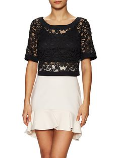 Lace Cotton Crop Top by BCBGeneration at Gilt