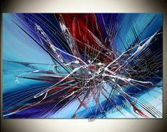 LARGE ARTWORK Abstract painting 36 x 24 Modern Art por largeartwork