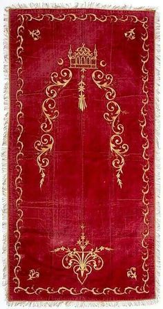 Turkish Seccade Goldwork embroidery on velvet; Gold Embroidery, Embroidery Stitches, Gold Work, Dear Diary, My Favorite Color, Handicraft, Diy And Crafts, Pillow Covers, Velvet