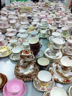 Antique cups and saucers. crockery, china, tea, antiques, vintage...she who dies with the most tea cups wins!