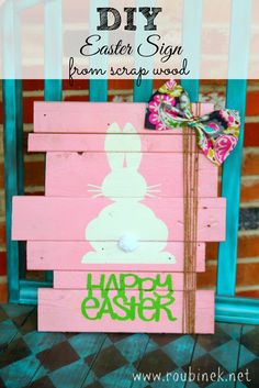 DIY Easter Sign from scrap wood. Could do this for all kind of holidays.  You could even quilt it.
