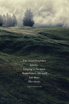 """soul quote about loneliness with a field, fog, & trees.""""The wind breathes lonely, longing to be seen. Sometimes, the soul has days like these. Young Love Quotes, Love Me Quotes, Free Soul Quotes, In The Woods Quotes, Lonely Heart Quotes, Being Lonely Quotes, Quotes About Being Alone, Tree Quotes, Trees Quotes Nature"""