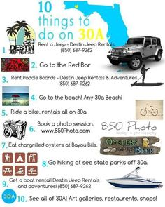 Things to do on 30a and in Destin. #destin #30a, #jeeprental Beach Jeep, Panama City Beach, Paddle Boarding, Things To Do, Vacation, Adventure, Things To Make, Vacations, Stand Up Paddling
