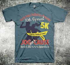 2013 Jog For A Cause 5K Race T Shirt By MycroBurst Designer Rudyy Fundraising