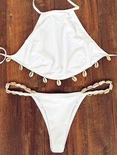 White Backless Sea Shell Embellished  Halter Bikini Set #White #Seashell #Bikini #Fashion