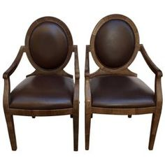 Pair of Spanish Leather Louis XVI Style Armchairs