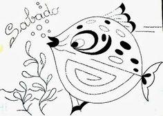 desenho semaninha do peixinho de aquario -  sabado
