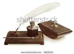 pen and feather ink well picture | -photo-vintage-writing-set-including-feather-quill-pen-nib-pen-ink ...