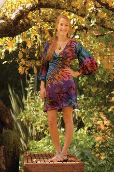 Spandex Mudmee Tie Dye Kimono Sleeve Dress - Jayli Imports, Inc.