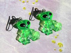 Green ALIEN Athlete Earrings Kitschy COOL Retro Pierced Earrings Martian