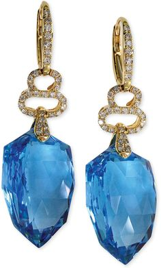 EFFY Blue Topaz (43-1/6 ct. t.w.) and Diamond (1/2 ct. t.w.) Leverback Earrings in 14k Gold on shopstyle.com