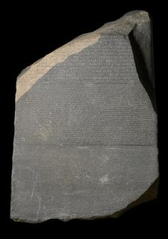 The Rosetta Stone was first found in 1799 by one of Napoleon Bonaparte's soldiers in Memphis, Egypt and it was discovered that there are three different texts on the stone the Greek text, the Egyptian Demotic text, and the Egyptian Hieroglyphic text. The Greek was the first to be read the other two were not translated until 1814 when Jean-François Champollion figured it out.