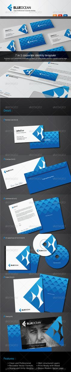Blue Ocean - Clean Corporate Identity #GraphicRiver Blue Ocean – Clean Corporate Identity Blue Ocean is a clean, minimalist, and professional corporate identity for any business. The package consist of 7 stationery mock-up (including front and back side) and a modern vector logo as bonus. Each mock-up have 3 different vector and raster format : AI Illustrator, Vector EPS , and PSD Photoshop. These items are fully editable and easy to work with couse of well-structured layers. Features : 300…