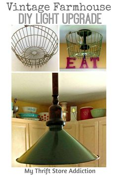 How to give dated lights a vintage farmhouse upgrade using the existing fixture!