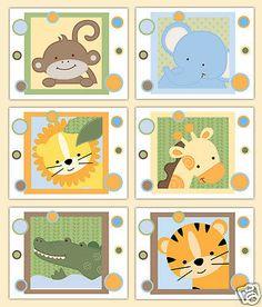 Safari animal impressões de arte da parede berçário Bebê Menino Menina Decoração presente do chuveiro de Selva