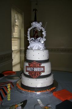 Harley Wedding Cake Photo:  This Photo was uploaded by fun with cakes. Find other Harley Wedding Cake pictures and photos or upload your own with Photobuck...