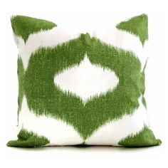 Duralee Green and White Ikat Decorative Pillow Cover Accent pillow,... ❤ liked on Polyvore featuring home, home decor, throw pillows, pillows, duralee, ikat throw pillows and ikat home decor