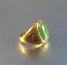 Vintage Unger Jade Ring 18K HGE Man Woman by LynnHislopJewels