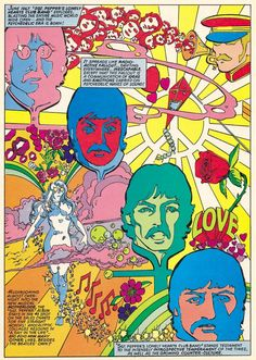 """Four splash pages by the Logan's Run art team of George Perez and Klaus Janson. From Marvel Super Special The Beatles Story, """"an unauthorized biography"""" of the band by David Anthony Kraft. Published by Marvel Comics, Rock Posters, Band Posters, Concert Posters, Hippie Posters, Psychedelic Art, Beatles Art, The Beatles, Beatles Guitar, Beatles Poster"""