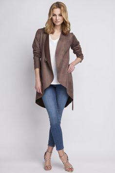 Woman Brown Suede Coat Jacket