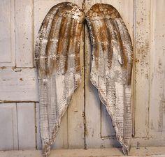 Distressed angel wings wall hanging farmhouse style rusty metal wood cherub wing set neutral brown gray white decor anita spero design